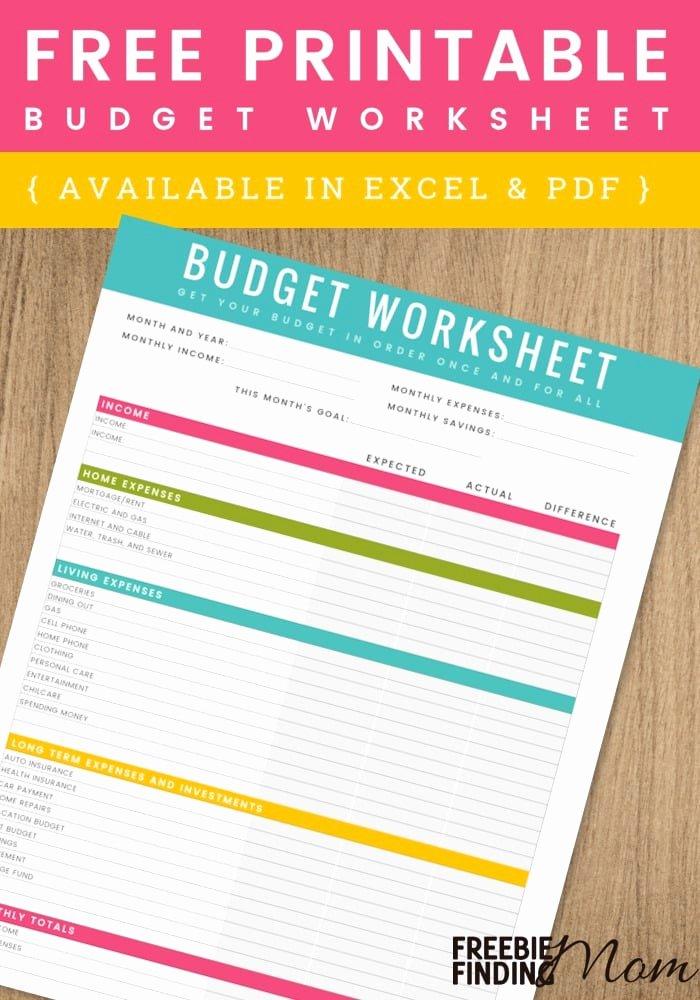 Free Household Budget Worksheet Pdf Best Of Free Printable Household Bud Worksheet