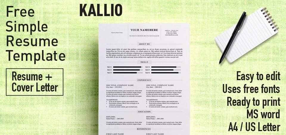 Free Microsoft Word Templates Best Of Kallio Simple Resume Word Template Docx