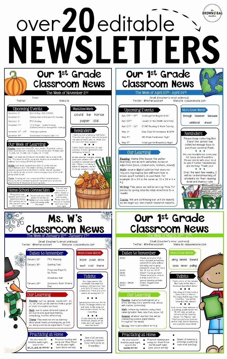 Free Newsletter Templates for Teachers Beautiful Editable Newsletter Templates Back to School