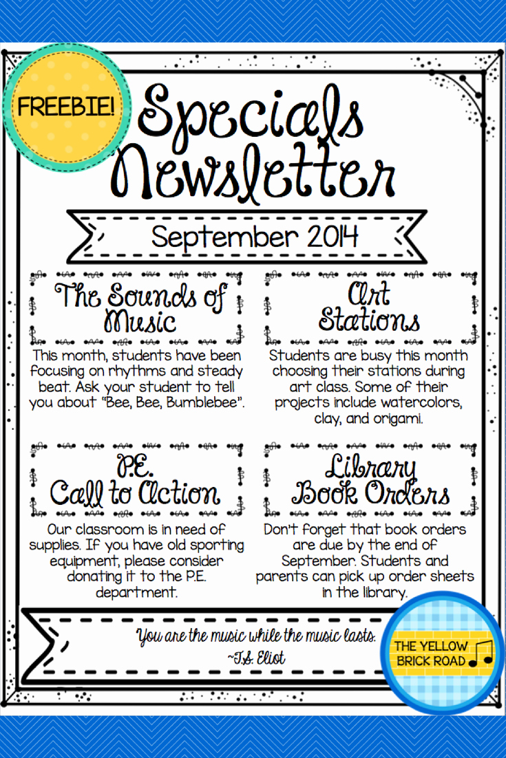 Free Newsletter Templates for Teachers Beautiful Freebie An Editable Newsletter for Specials Teacher