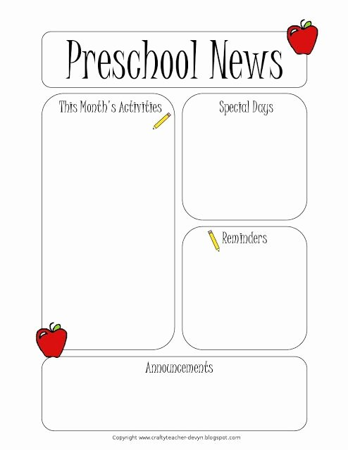Free Newsletter Templates for Teachers Beautiful Preschool Newsletter Template