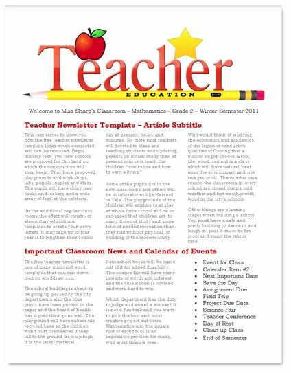 Free Newsletter Templates for Teachers Elegant 45 Best Images About Newsletter Templates On Pinterest