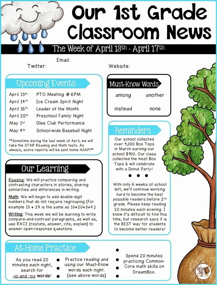 Free Newsletter Templates for Teachers Elegant Parent Munication 1st Grade the Brown Bag Teacher