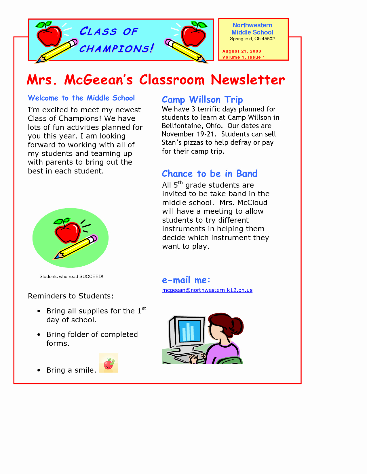 Free Newsletter Templates for Teachers Fresh Classroom Newsletter Template