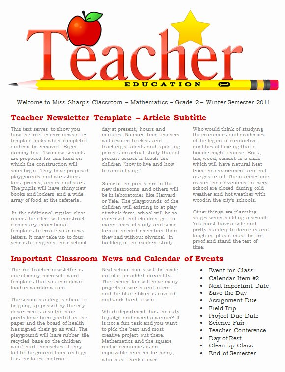 Free Newsletter Templates for Teachers Lovely Free 20 Fantastic Printable Newsletter Templates In Pdf