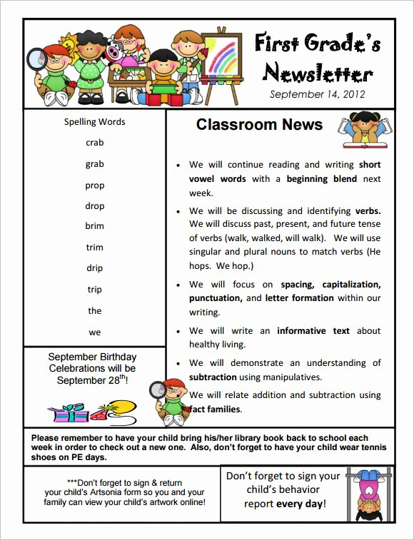 Free Newsletter Templates for Teachers New Free 9 Sample Kindergarten Newsletter Templates In Sample