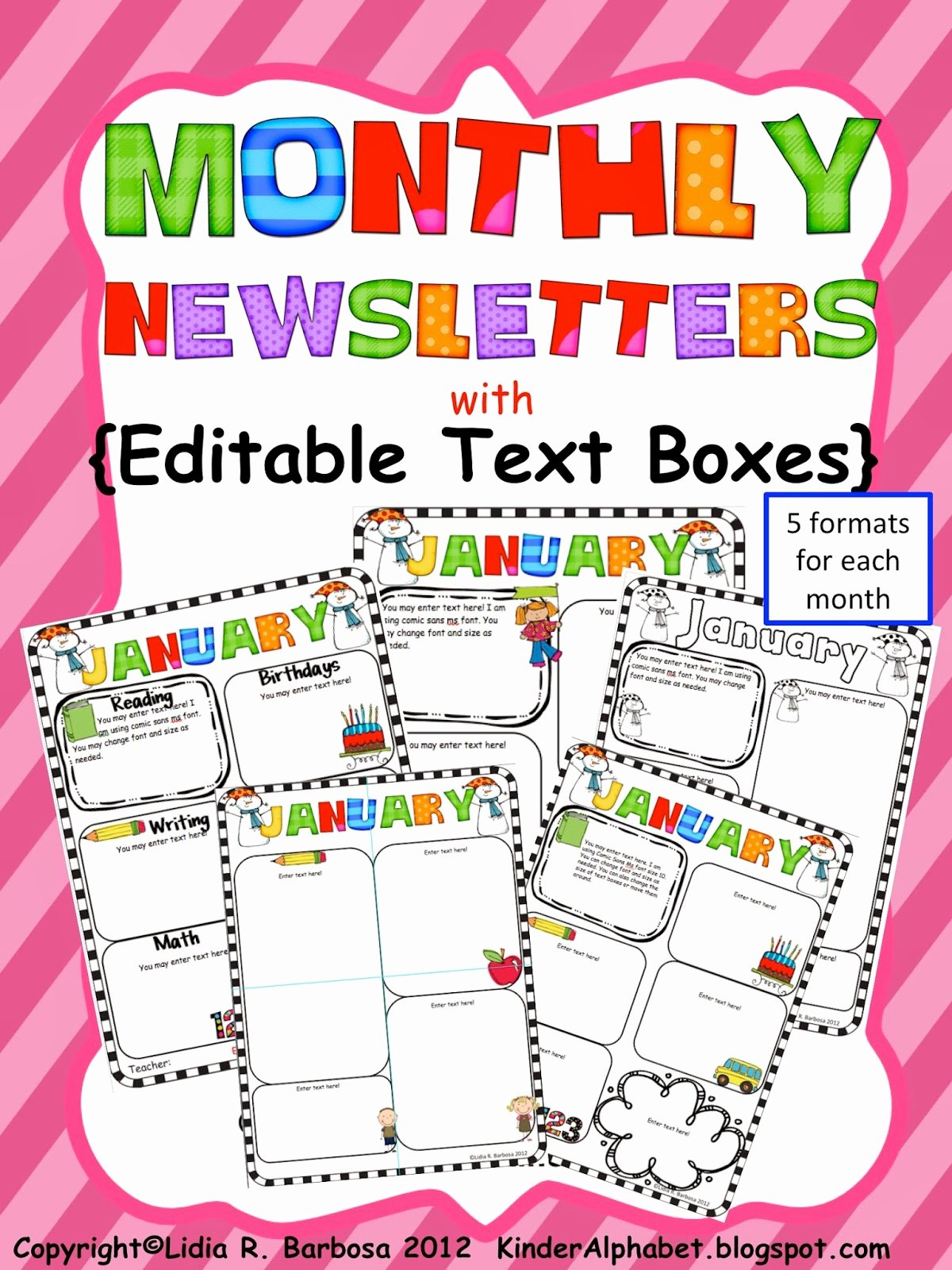 Free Newsletter Templates for Teachers New Kinder Alphabet — Teacher Resources In English and Spanish