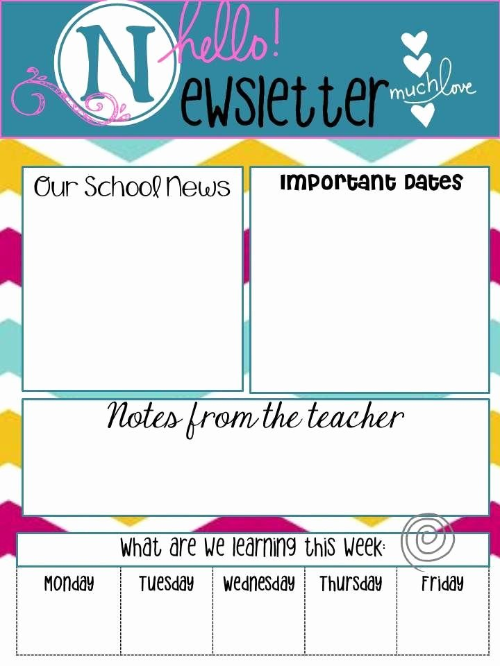 "Free Newsletter Templates for Teachers New School Newsletters Say ""hello"""