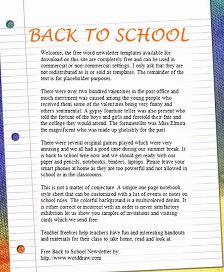 Free Newsletter Templates for Teachers Unique 15 Free Microsoft Word Newsletter Templates for Teachers