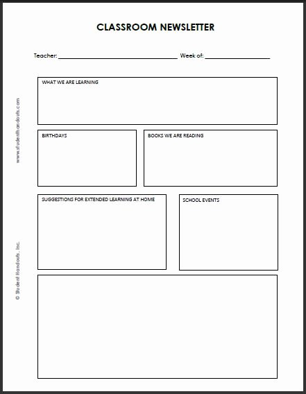 Free Newsletter Templates for Teachers Unique Blank Classroom Newsletter Template