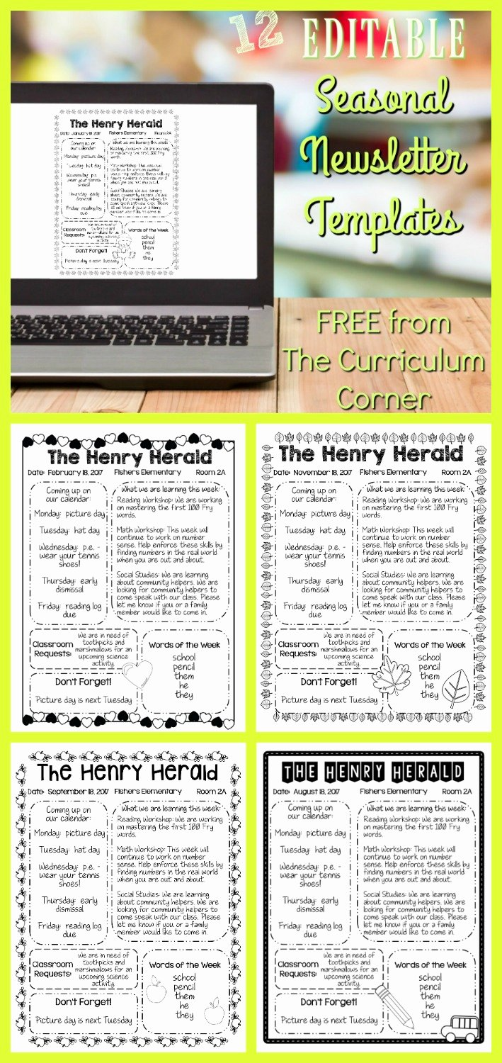 Free Newsletter Templates for Teachers Unique Editable Seasonal Newsletter Templates the Curriculum
