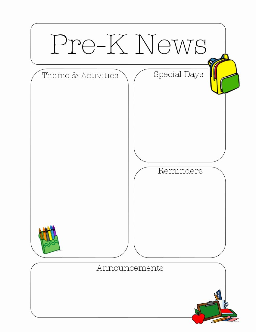 Free Newsletter Templates for Teachers Unique Pre K Newsletter Template