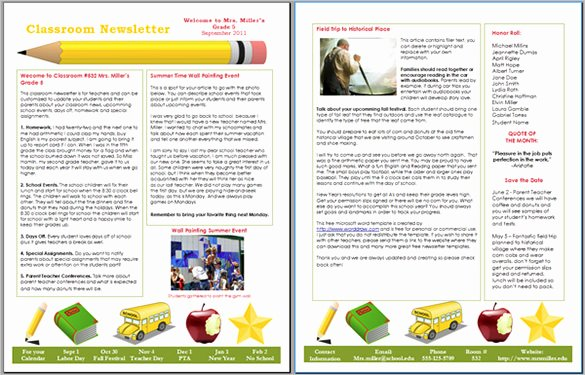 Free Newsletter Templates Word Awesome 6 Classroom Newsletter Templates
