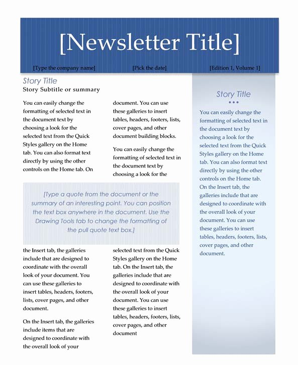 Free Newsletter Templates Word Inspirational Creating Columns for A Newsletter In Word 2007 or 2010