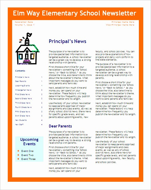 Free Newsletter Templates Word New Free 6 Editable Primary Classroom School Newsletter