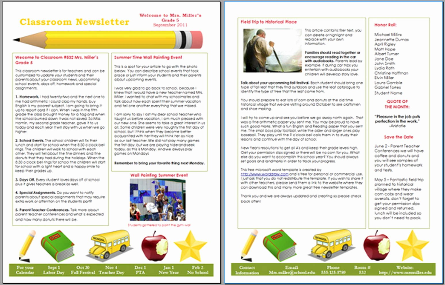 Free Newsletter Templates Word New School Newsletter Templates
