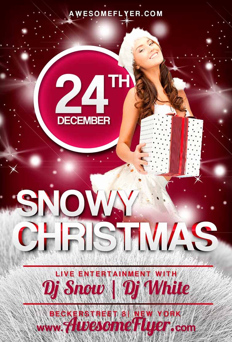 Free Party Flyer Templates Awesome Free Snowy Christmas Flyer Template