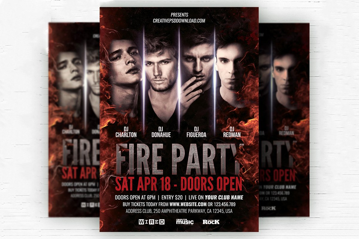 Free Party Flyer Templates Elegant Free Fire Party Flyer Psd Template Creativetacos