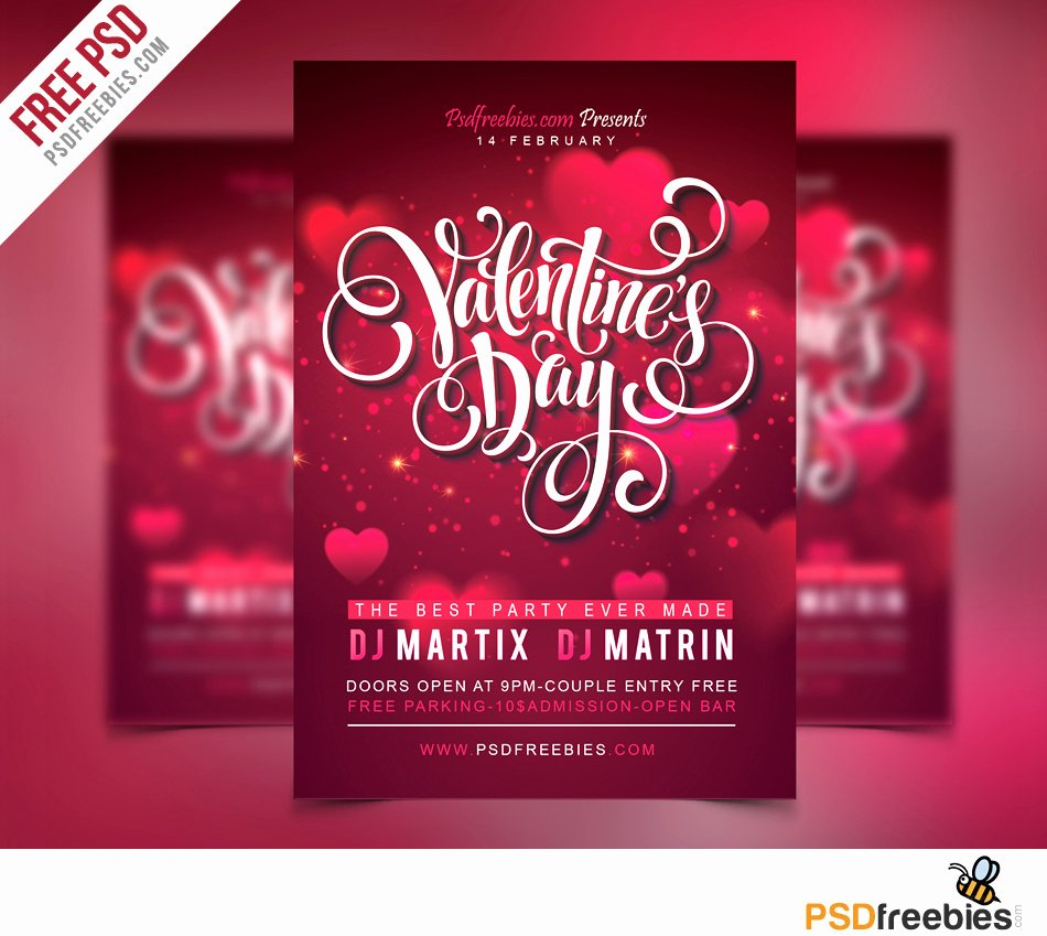 Free Party Flyer Templates Elegant Free Valentines Party Flyer Psd Template