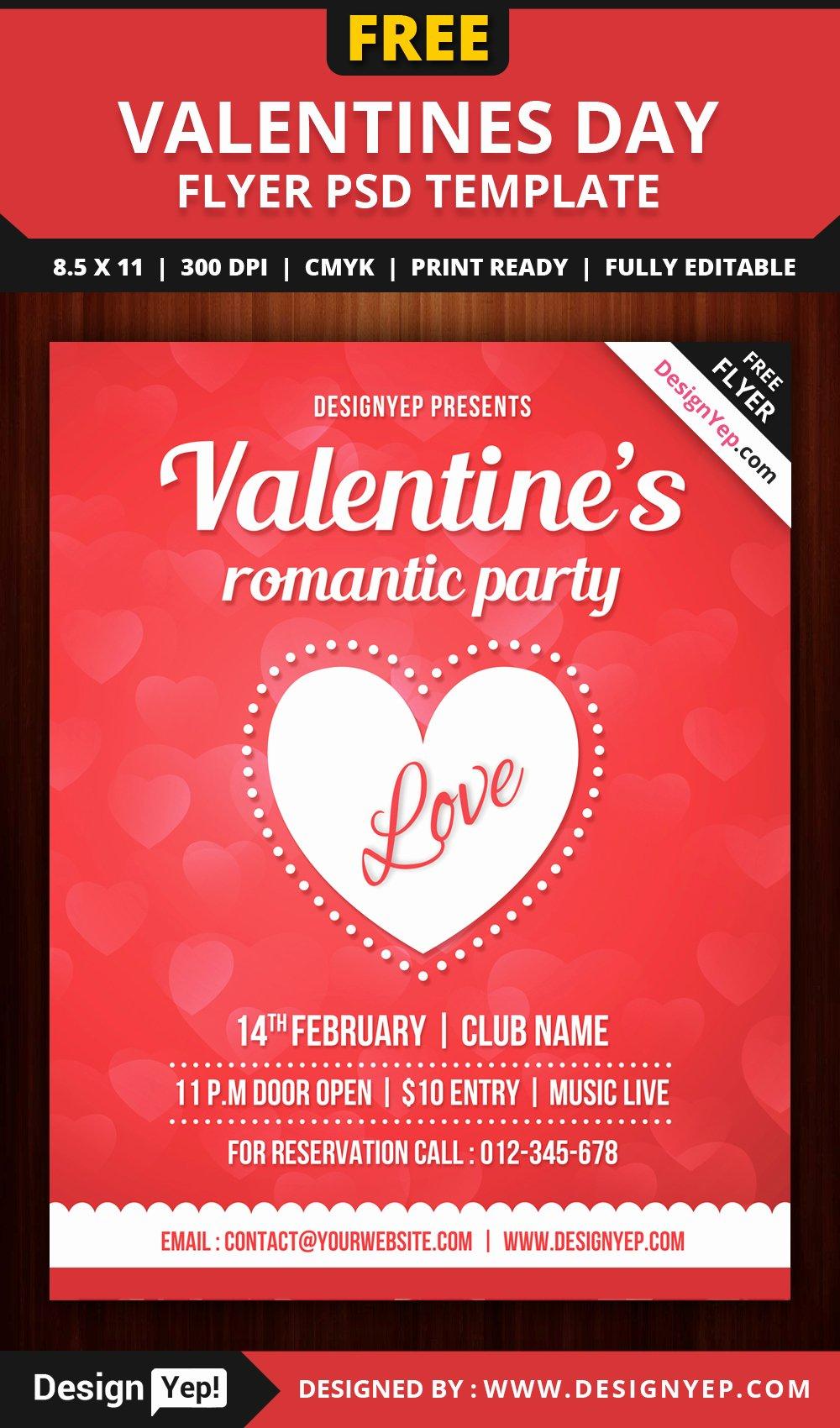 Free Party Flyer Templates Elegant Free Valentines Party Flyer Template Psd Designyep
