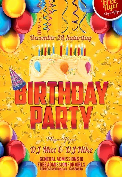 Free Party Flyer Templates New 11 Beautiful & Free Birthday Flyers Templates