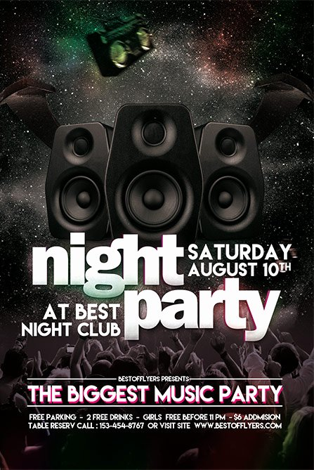 Free Party Flyer Templates New Party Night Free Poster and Flyer Template Download Free