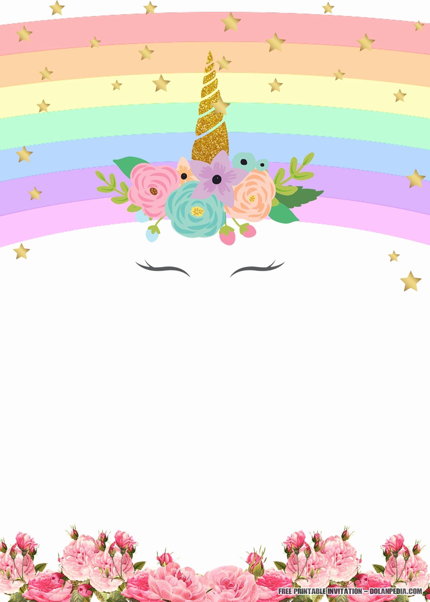 Free Party Invitation Templates Elegant Free Printable Unicorn Rainbow Invitation