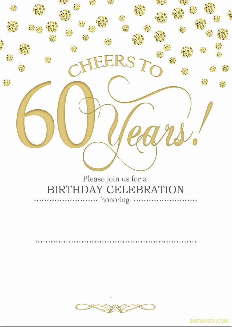 Free Party Invitation Templates Fresh Free Printable 60th Birthday Invitations