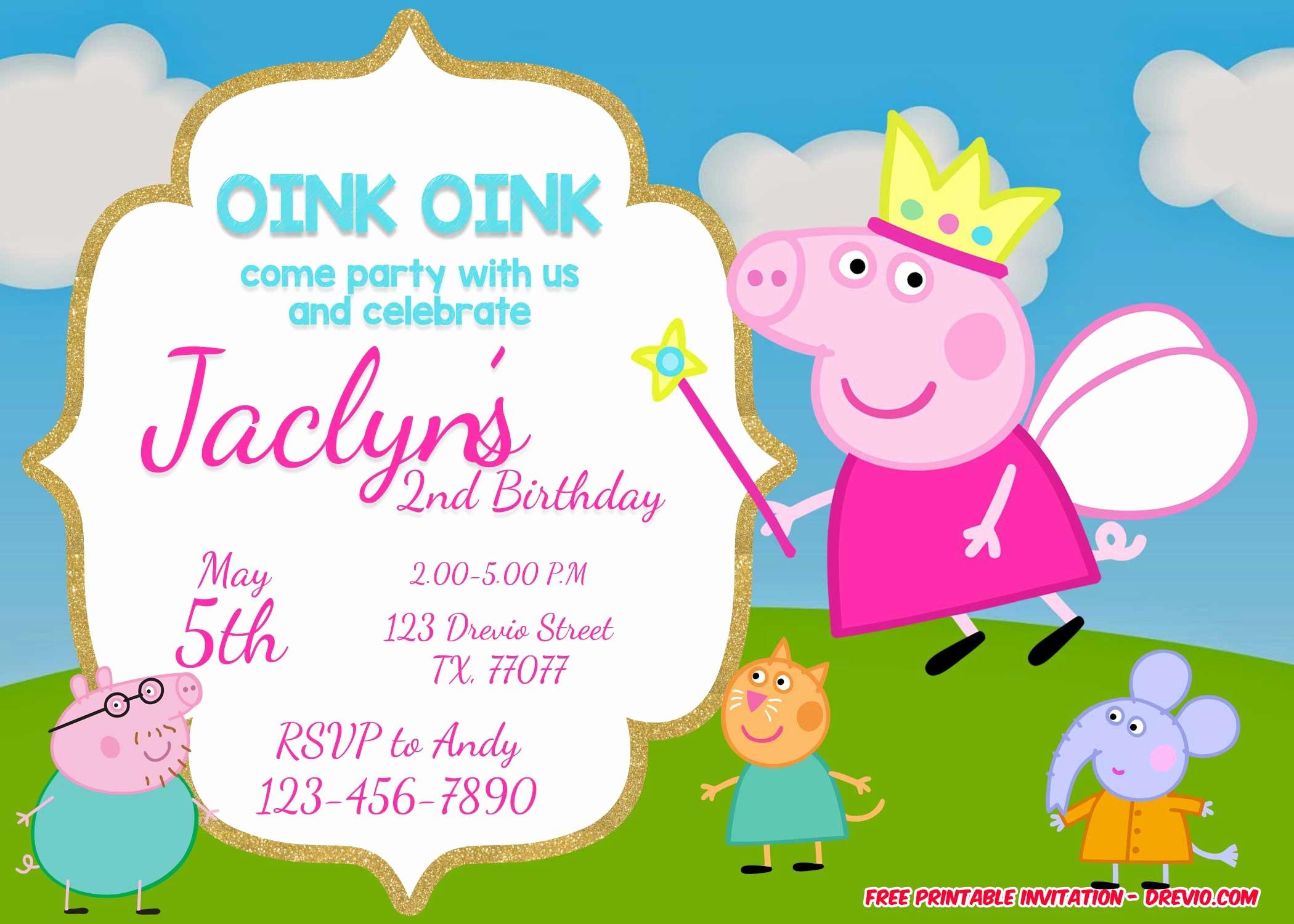 Free Party Invitation Templates Luxury Free Printable Peppa Pig Invitation Birthday Templates