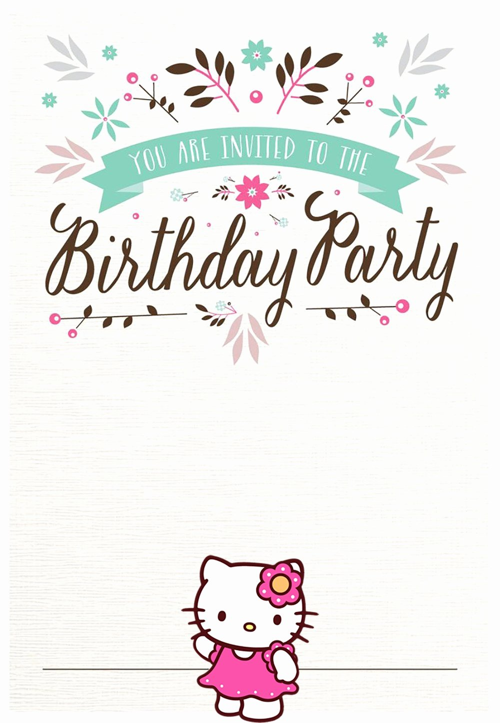 Free Party Invitation Templates Luxury Hello Kitty Free Printable Invitation Templates