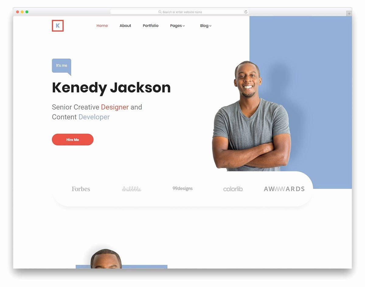 Free Portfolio Website Templates Elegant Kenedy Free Responsive Personal Website Template 2019
