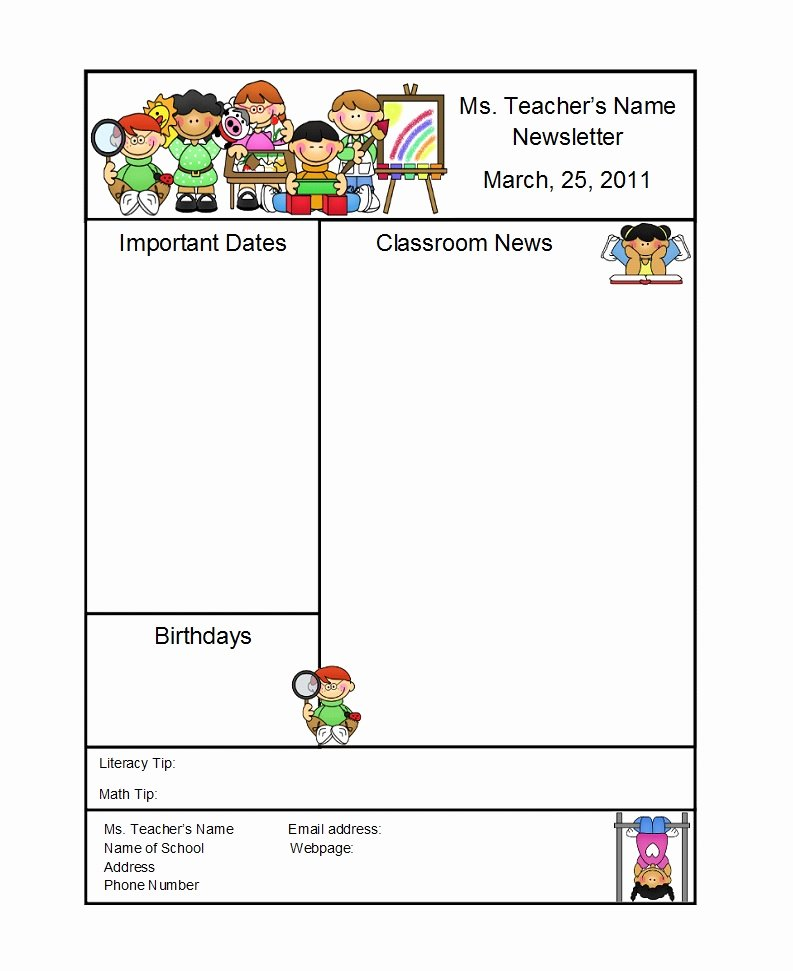 Free Preschool Newsletter Templates Awesome 50 Creative Preschool Newsletter Templates Tips