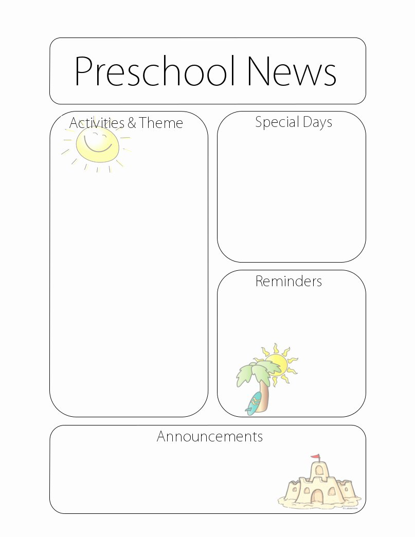 Free Preschool Newsletter Templates Beautiful Newsletter Templates