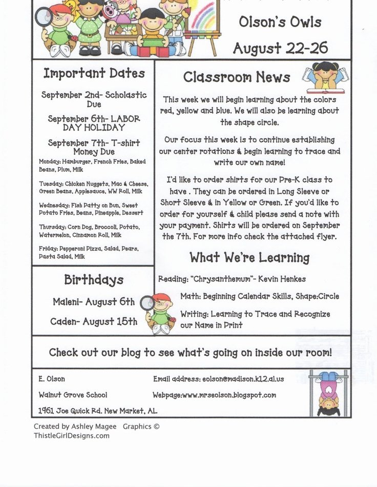 Free Preschool Newsletter Templates Best Of 15 Best Newsletter Templates Images On Pinterest