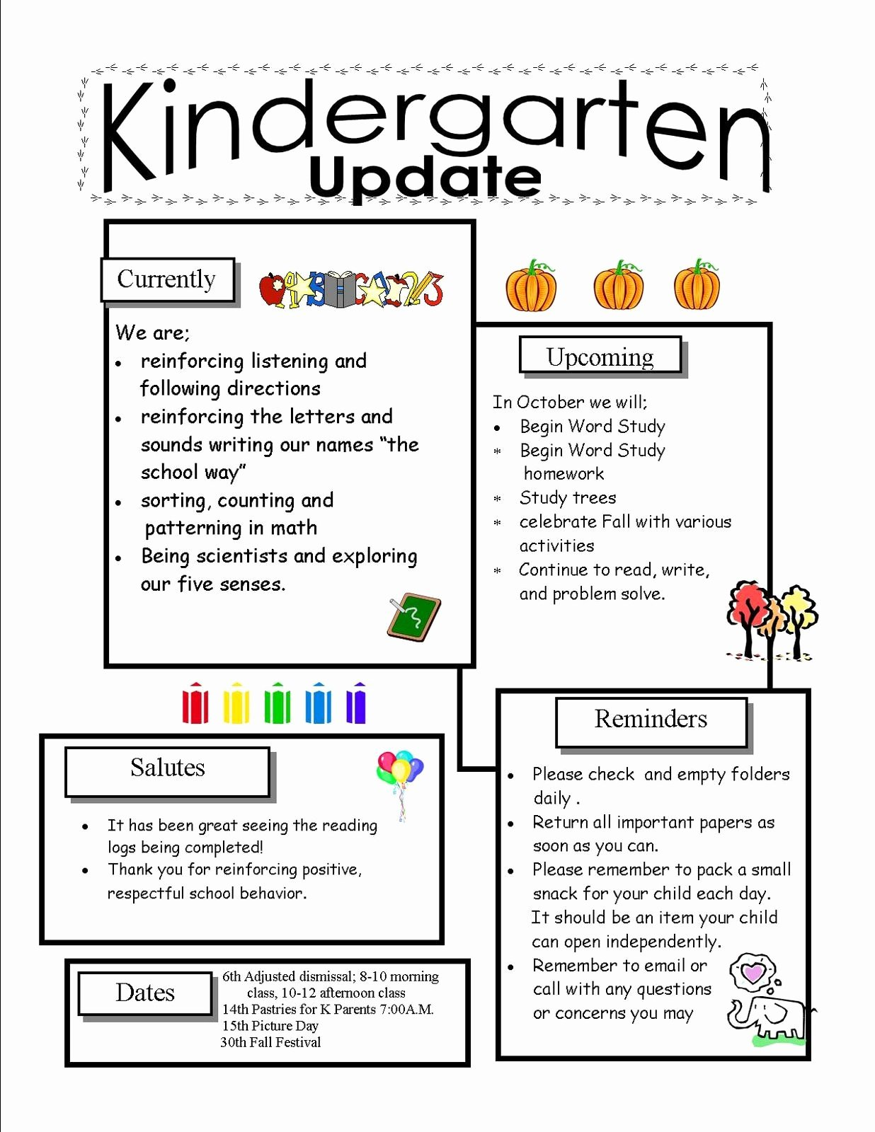 Free Preschool Newsletter Templates Best Of Kindergarten Newsletter Templates for Free