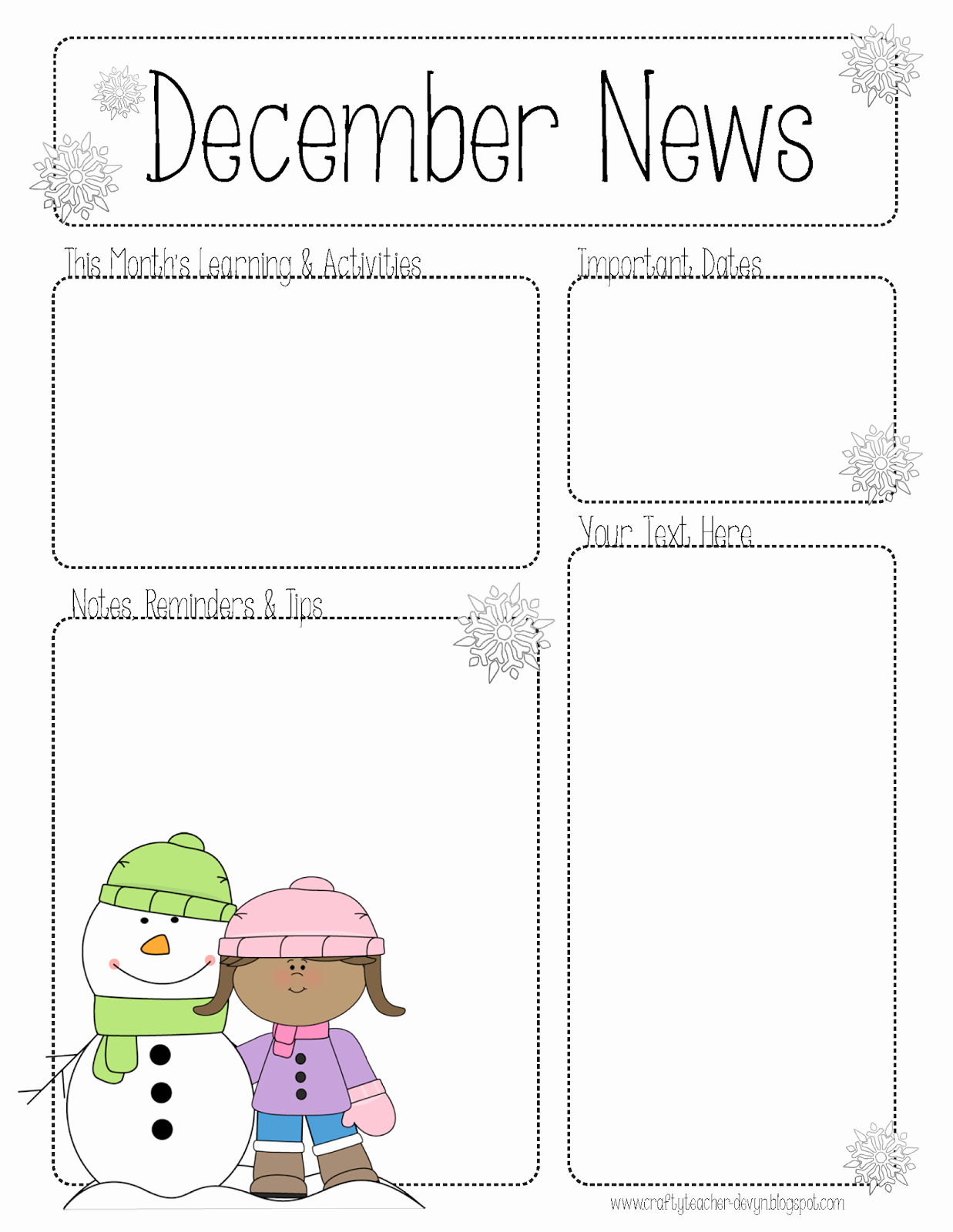 Free Preschool Newsletter Templates Luxury December Newsletter for All Grades Preschool Pre K
