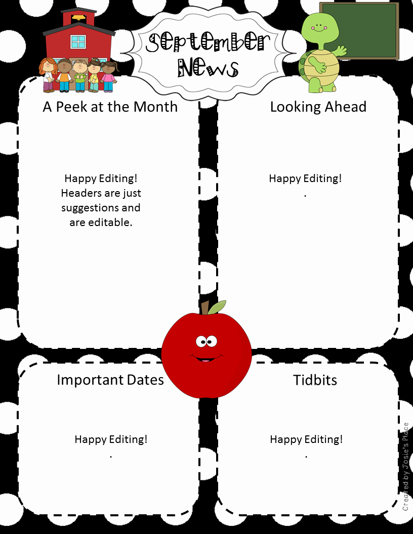 Free Preschool Newsletter Templates Luxury Editable Newsletters for the Year September Freebie