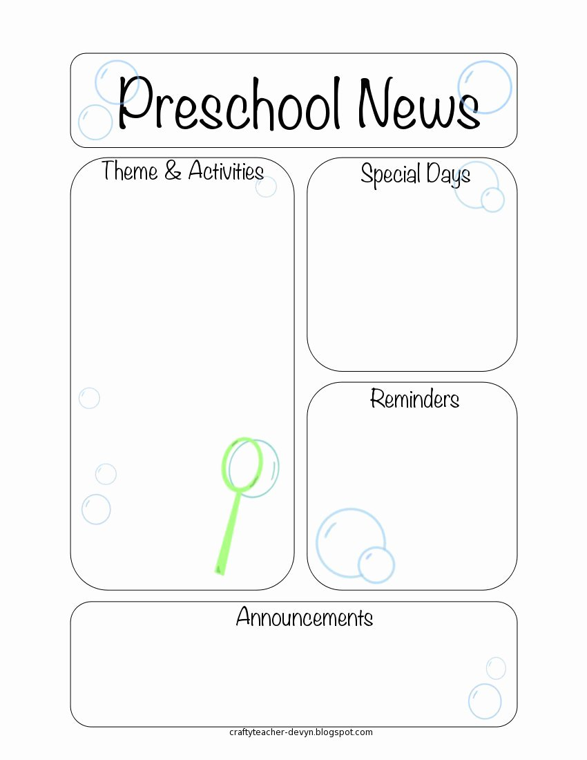 Free Preschool Newsletter Templates New Newsletter Templates