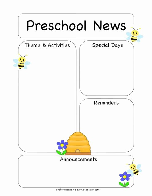 Free Preschool Newsletter Templates Unique Preschool Bee Newsletter Template