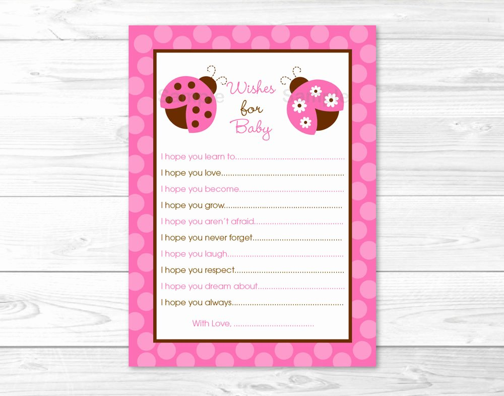 Free Printable Baby Shower Card Awesome Pink Ladybug Printable Baby Shower Wishes for Baby Advice