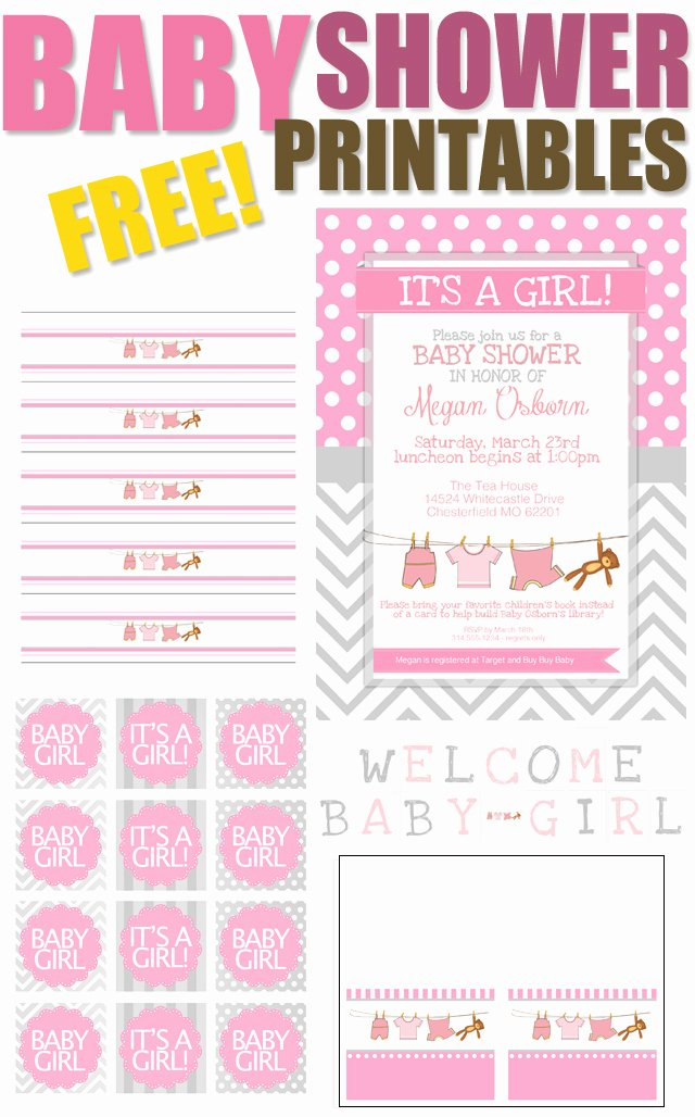Free Printable Baby Shower Card Beautiful Baby Girl Shower Free Printables How to Nest for Less™