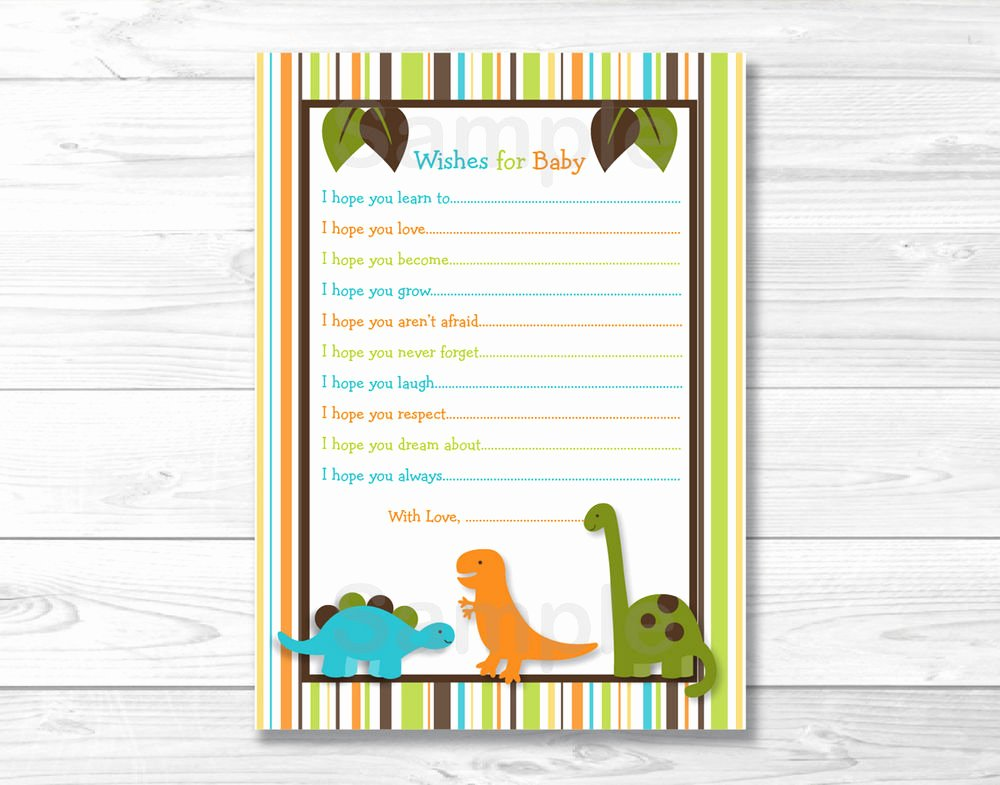 Free Printable Baby Shower Card Best Of Dinosaur Friends Printable Baby Shower Wishes for Baby