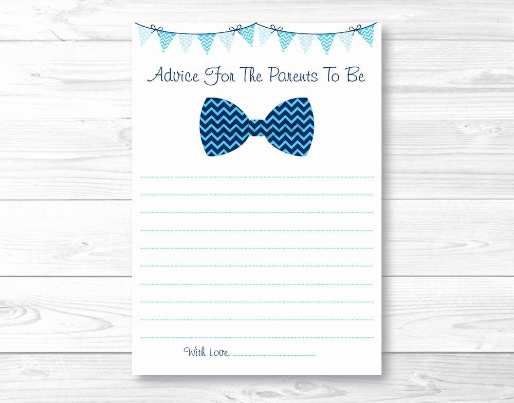 Free Printable Baby Shower Card Elegant Chevron Bow Tie Printable Baby Shower Mommy Advice Cards
