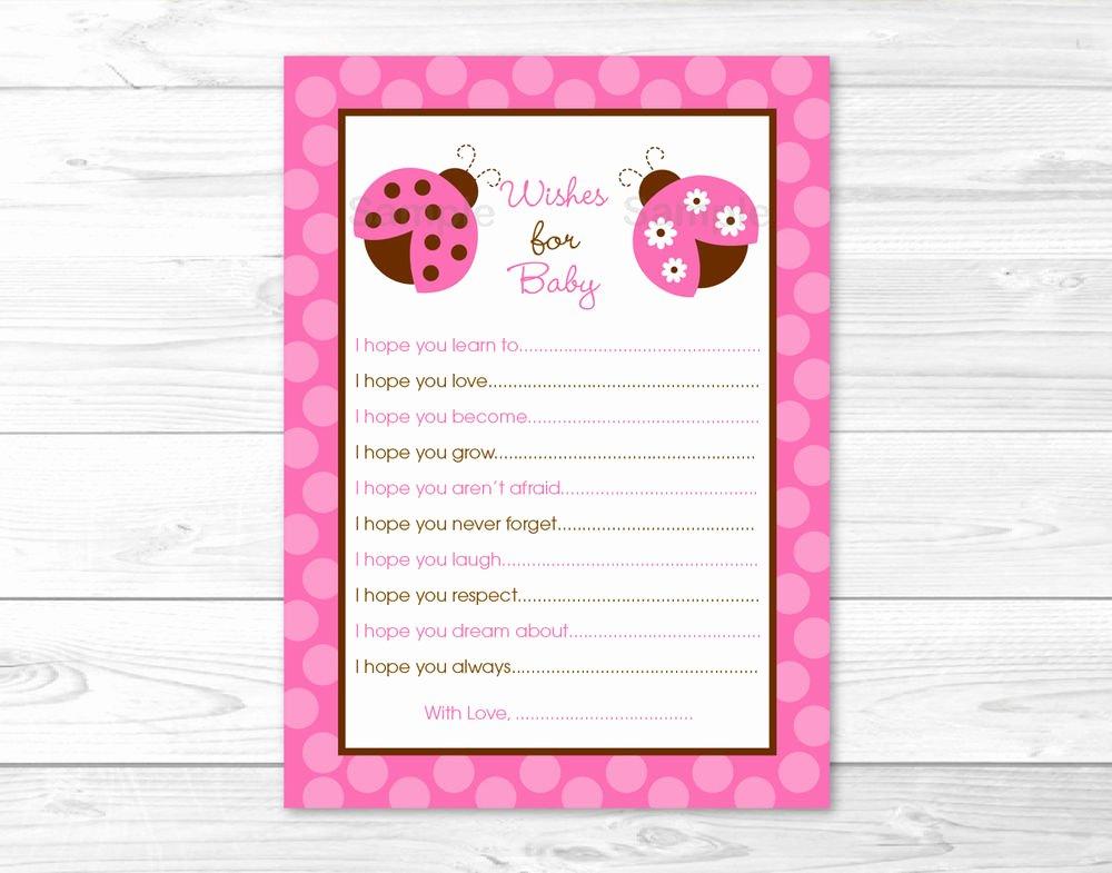 Free Printable Baby Shower Card Elegant Pink Ladybug Printable Baby Shower Wishes for Baby Advice
