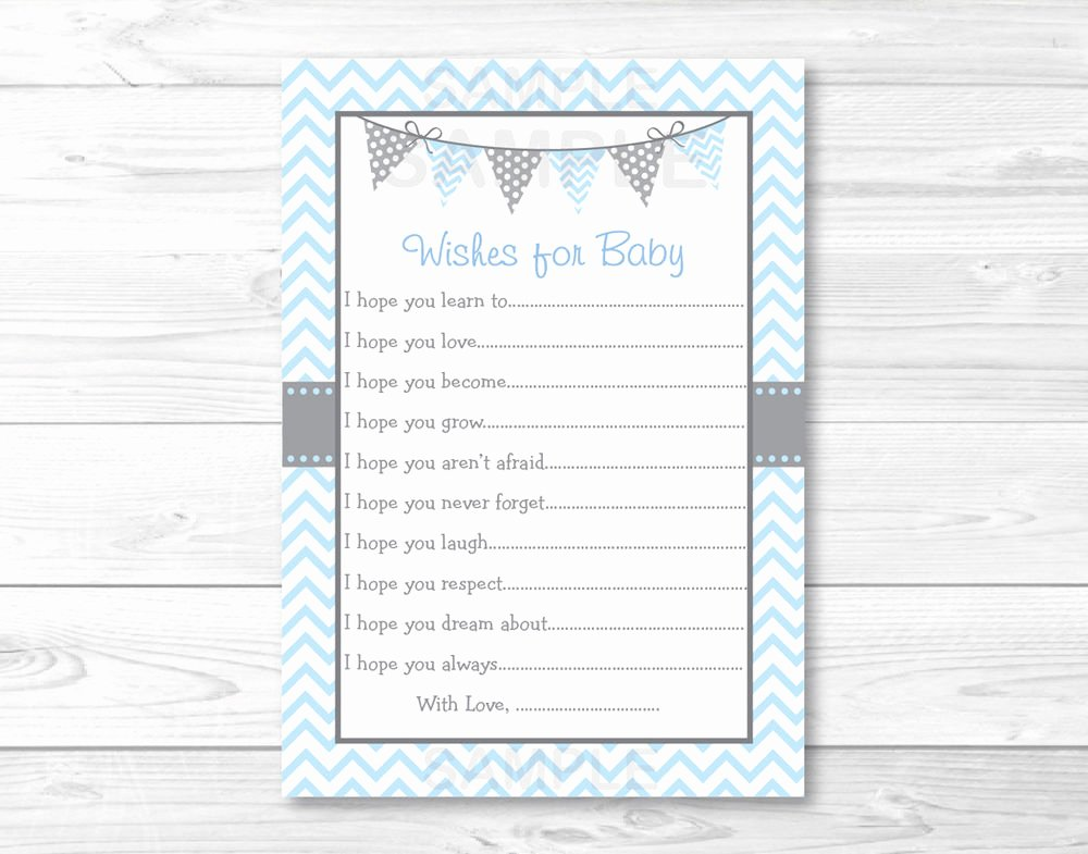 Free Printable Baby Shower Card Lovely Modern Baby Blue Chevron Printable Baby Shower Wishes for