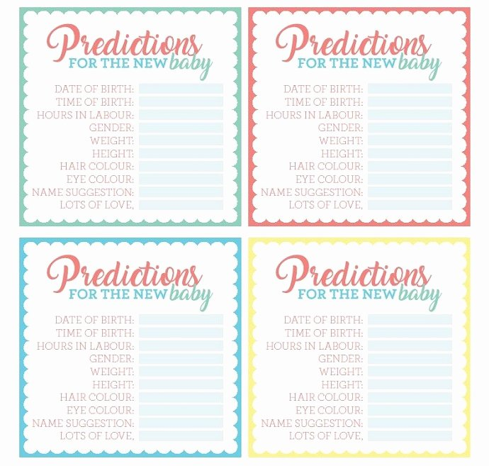Free Printable Baby Shower Card New Free Printable Baby Shower Prediction Cards
