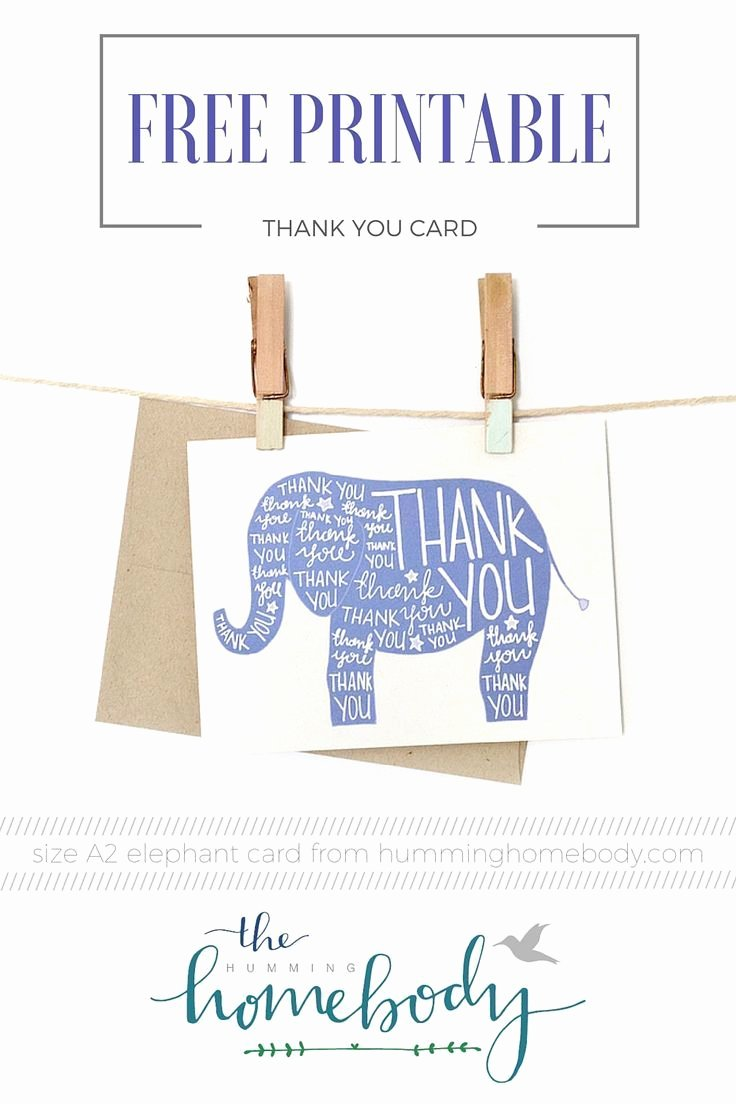 Free Printable Baby Shower Card Unique Printable Elephant Thank You Card