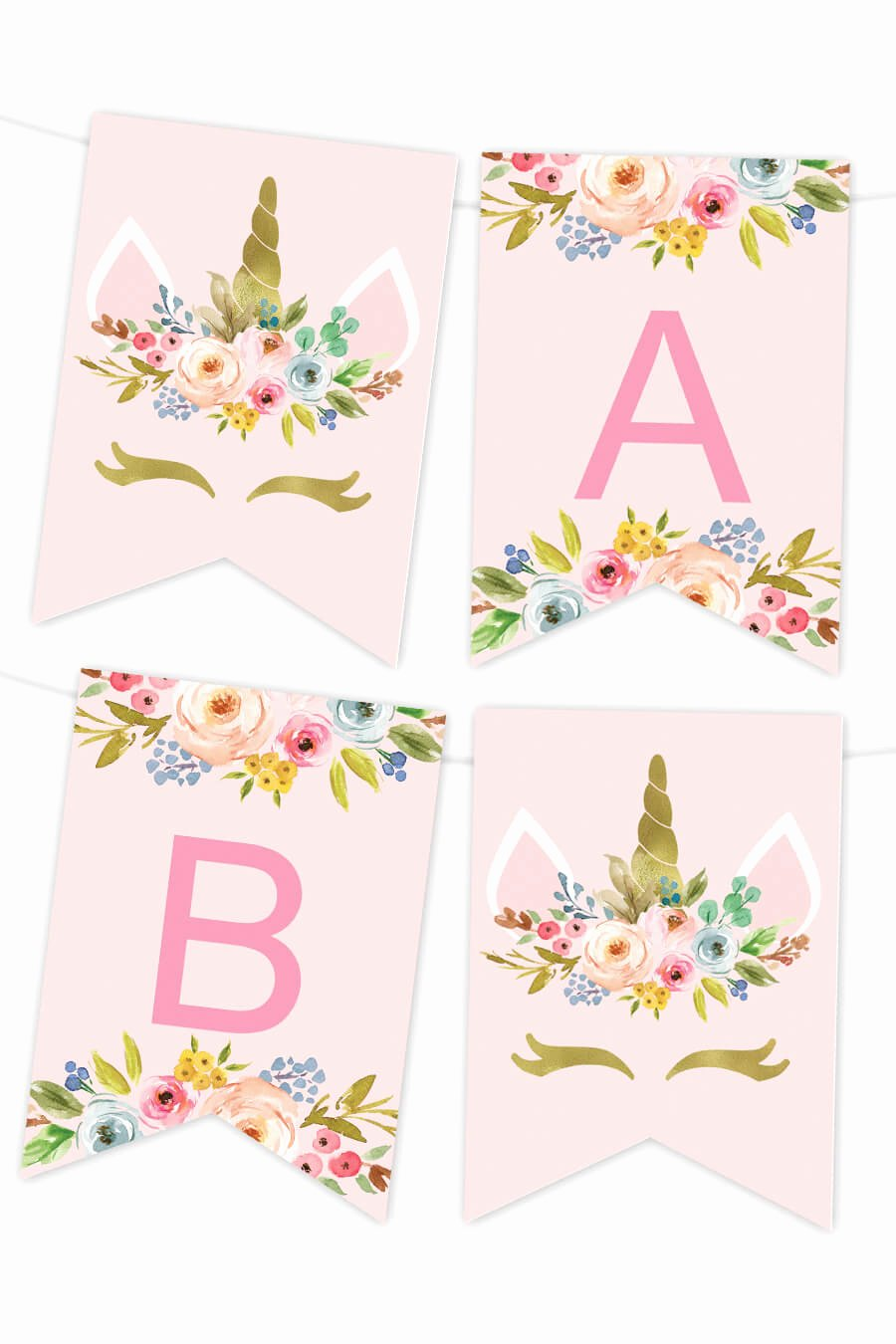 Free Printable Banner Templates Lovely Unicorn Floral Printable Banner Chicfetti