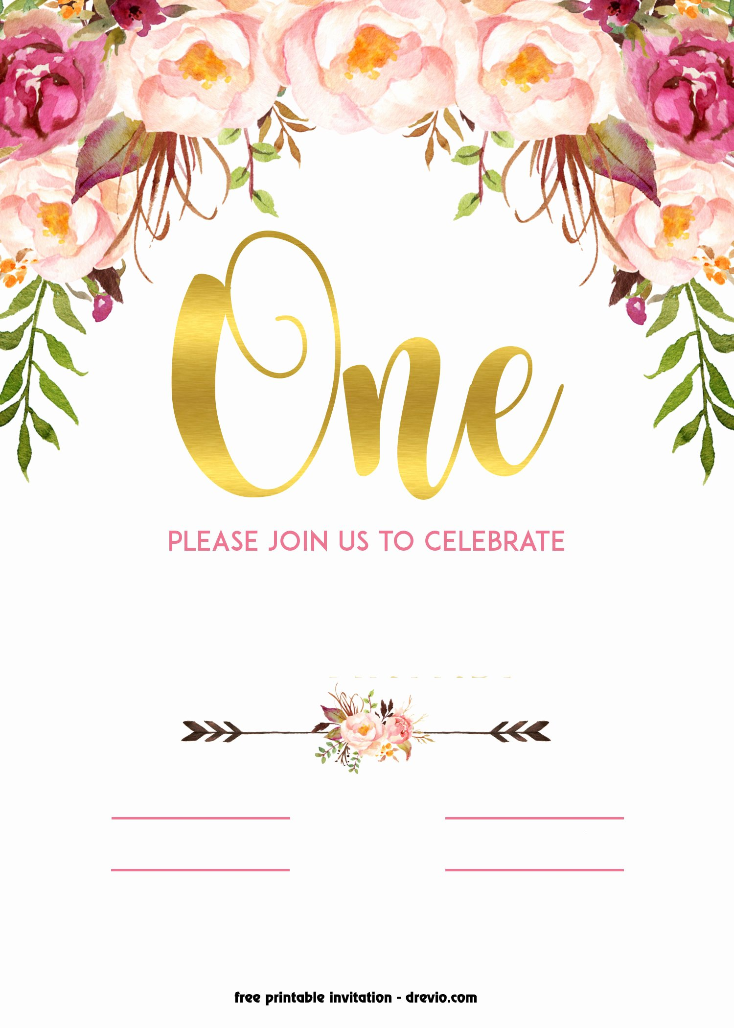 Free Printable Birthday Invitation Templates Beautiful Free Printable 1st Birthday Invitation – Vintage Style