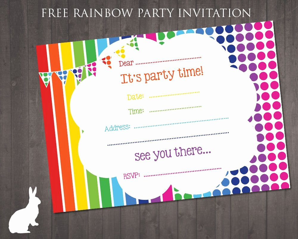 Free Printable Birthday Invitation Templates Beautiful Free Rainbow Party Invitation